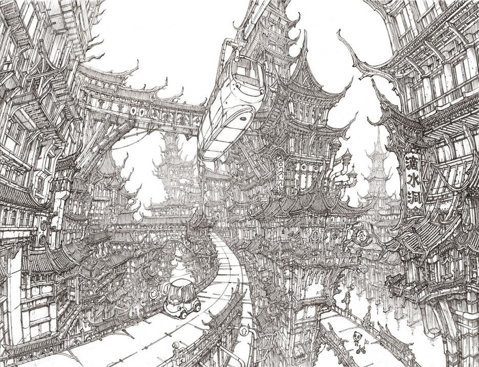 未来都市 设计图线稿