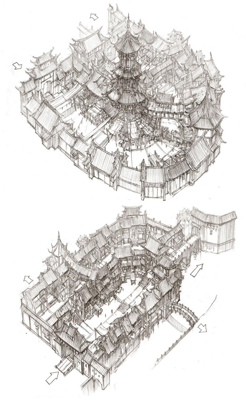 建筑群手绘透视