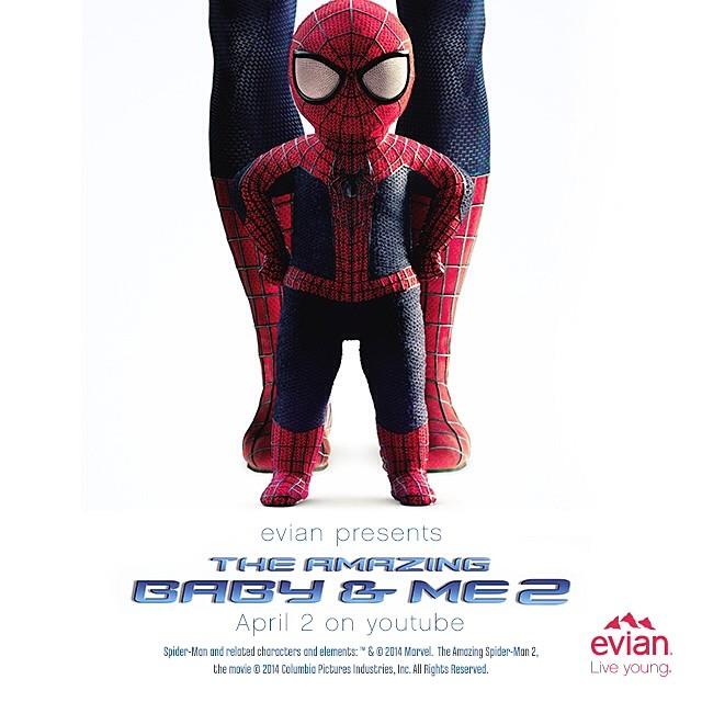evian 的广告宣传片,小蜘蛛侠做的超可爱,这样的广告看在多也没