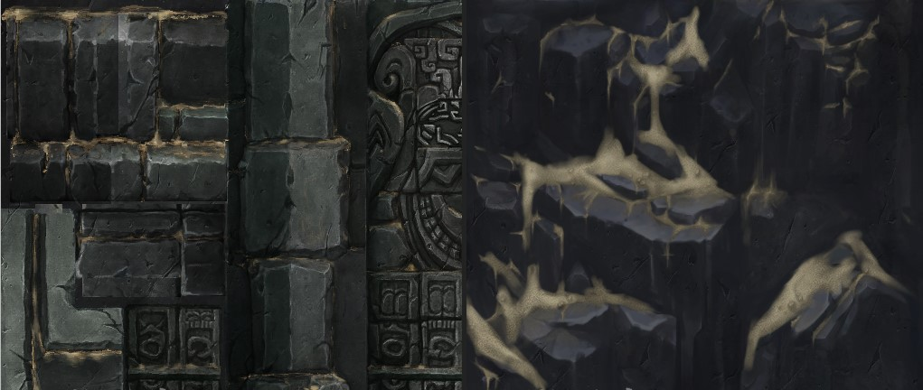 强势手绘写实魔幻风游戏场景贴图素材 手绘石头金属木头贴图资源